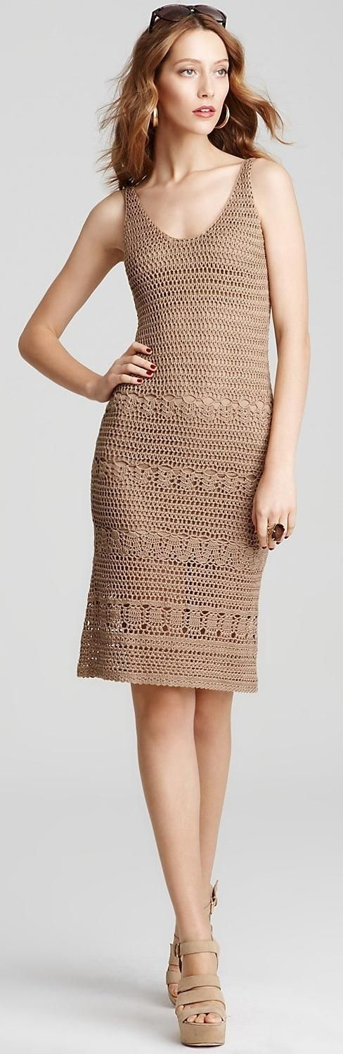 beige crochet dress by Anne Klein