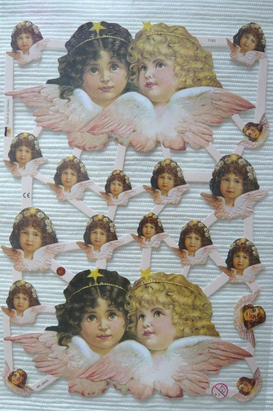 Glanzbilder ef 7193 Engel Putten mit Blumen Kranz Schmuck ganz niedlich Oblaten | eBay