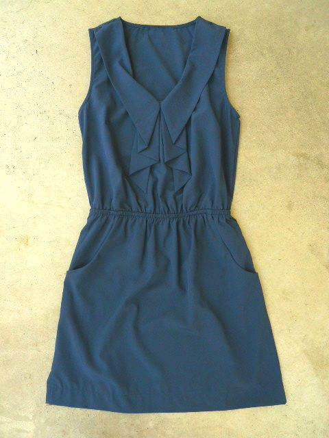 Cascading Ruffles Dress in Navy, Love that it can be dressed up or be dressed down.
