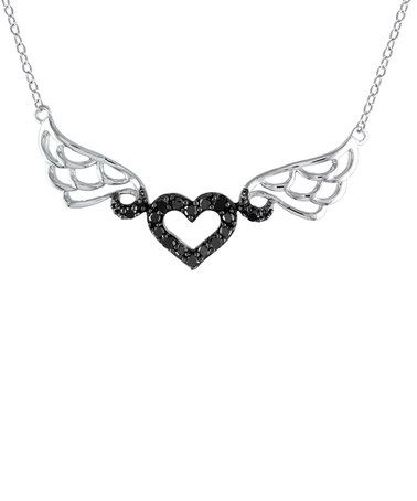 Love this 0.5-tw Black Diamond & Sterling Silver Winged Heart Necklace on #zulily! #zulilyfinds