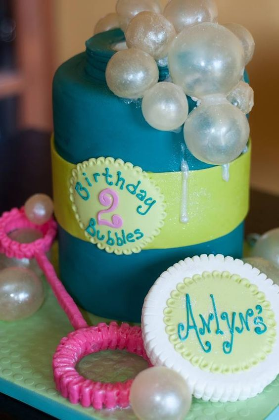 """Bubble Birthday - 6"""" Double barrel cake covered in Fondx with modeling chocolate accents and gelatin bubbles"""