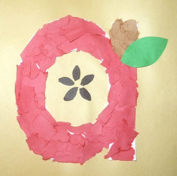 fall shapes craft | Mom to 2 Posh Lil Divas: ABC Fun A is for Apple: Torn Paper Art