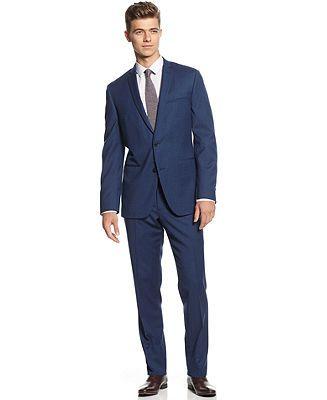 Bar III Suit, Cobalt Blue Solid Slim Fit - Suits & Suit Separates