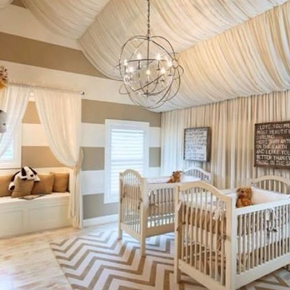 neutral baby nursery with hanging fabric from the ceiling via houzzpictures baby room lighting ceiling