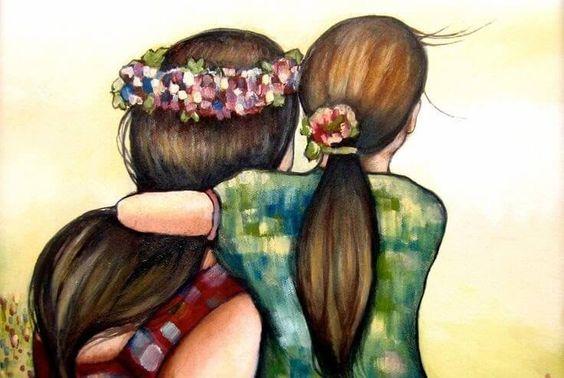 madre con hija abrazadas por la espalda evitando que los niños se malcríen