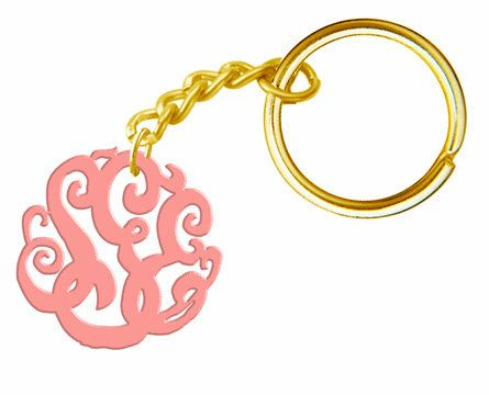 Monogram Keychain Gold tone. $15.00, via Etsy.