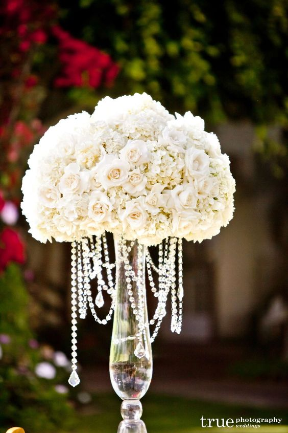 glamorous silk flower centerpieces   perfection with all tall, dramatic ivory and white centerpieces ...