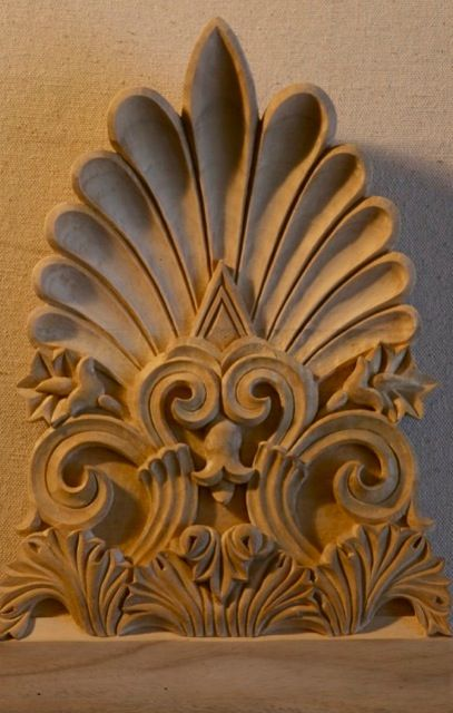 Wood carved antefix from the propylaea in athens hand