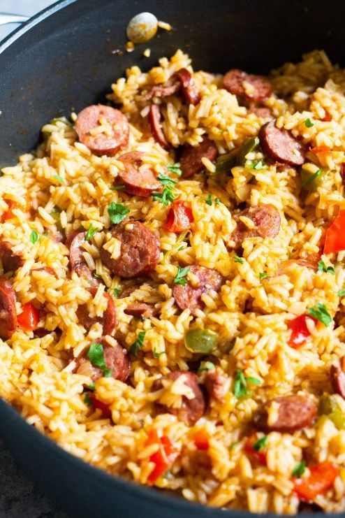 One Pot Sausage Peppers with Rice