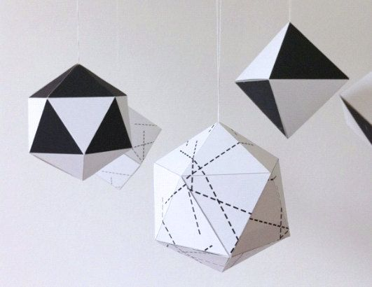 Christmas Decorations 3d Shapes Ks2 : Geometric paper christmas ornaments little nest box