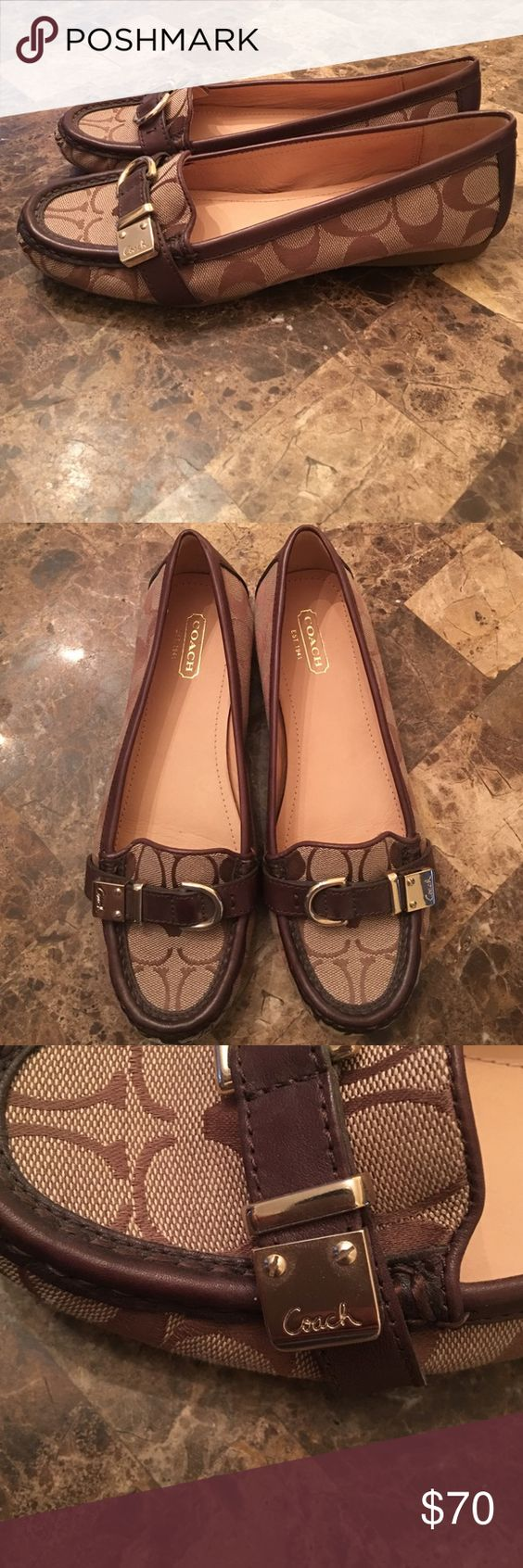 Coach loafers Size 7. Never worn. Brown and tan loafers Coach Shoes Flats & Loafers