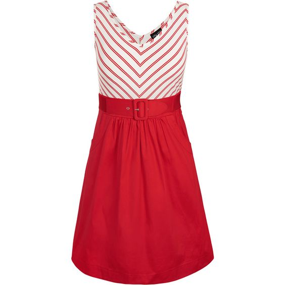 City Chic Ahoy Dress ($89) ❤ liked on Polyvore featuring dresses, red dress, red stretch dress, red zipper dress, red sailor dress and chevron striped dress