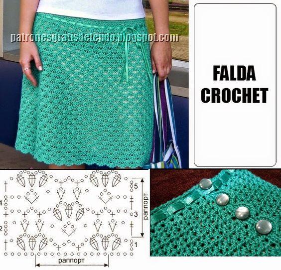 Falda crochet con punto f cil con esquema crochet y - Patchwork para principiantes patrones ...