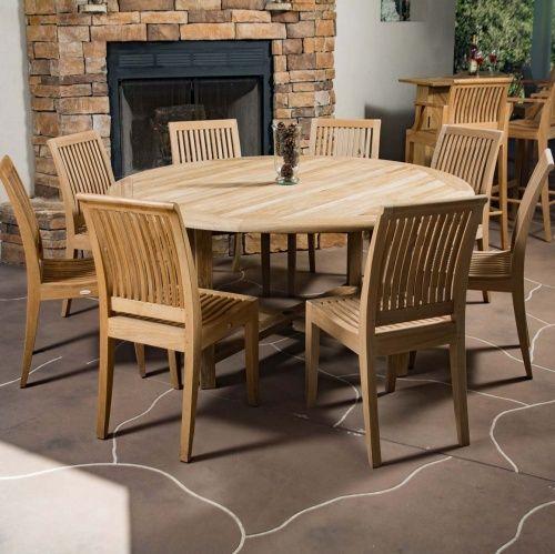 9pc Teak Round Table Dining Set Backyard Furniture Teak Outdoor