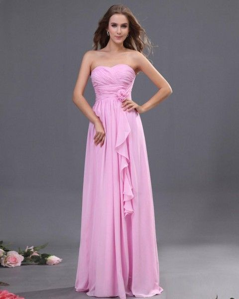 Sweetheart Floor Length Bridesmaid Dress With Floral waistline - Wedding Diary