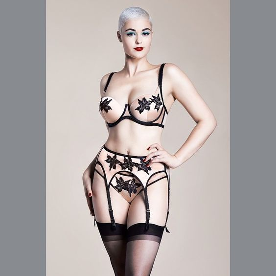 @stefania_model wearing my silk and @swarovski embellished Park Avenue lingerie, now available @myer and @glamuse
