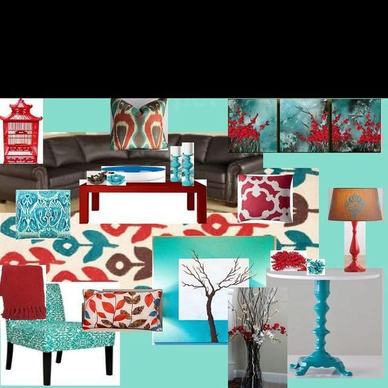 Red And Turquoise Living Room: Ideas For Andria's Living Room... Put Together