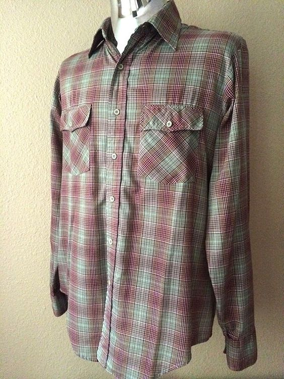 Vintage Apparel Men's 70's Shirt Plaid Green by Freshandswanky, $15.00