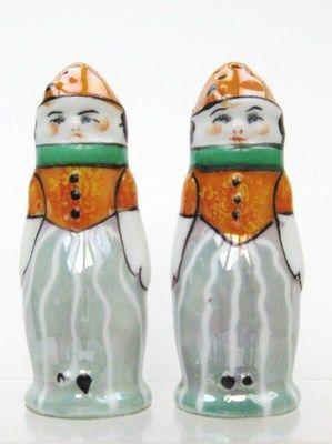 NORITAKE LUSTERWARE, ART DECO, 1930s, JAPAN SALT PEPPER MEN