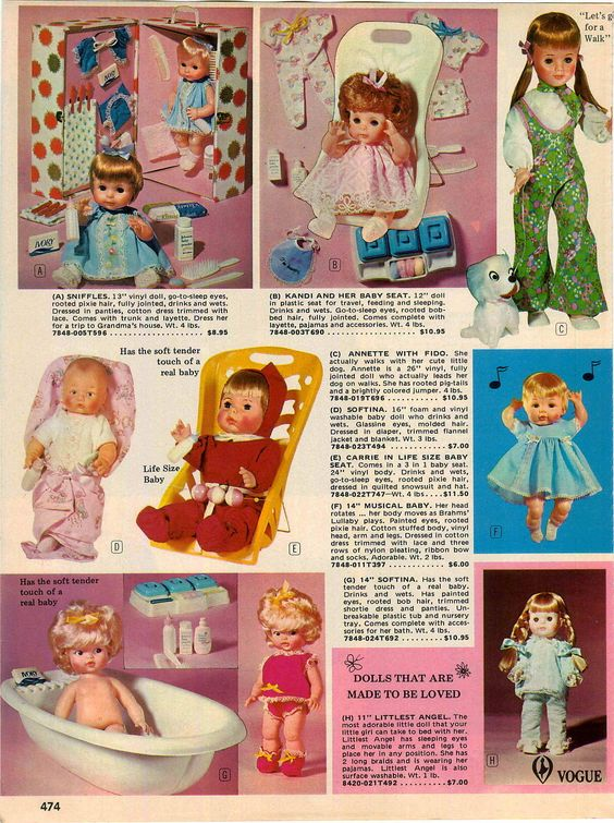 """1972 Dolls, Sniffles, Kandi, Annette Walker by Eegee, Softina by Eegee, Carrie Life Size Baby, 14"""" Musical Baby, another Softina and Vogue Littlest Angel"""