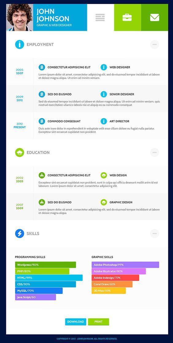 20 Resume Templates Für Deinen Traumjob   Flats, Blog And Resume