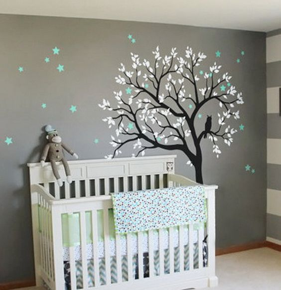 Large owl hoot star tree kids nursery decor wall decals for Baby boy mural ideas