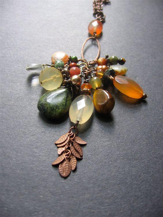 Long Boho Charm Necklace. Multistone Long Necklace. Long Boho Copper Necklace - Autumn Leaves