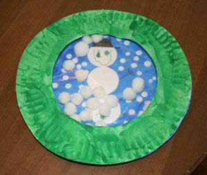 paper plate snow globe craft