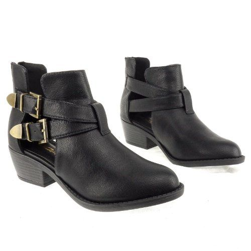 Amazon.com: Autry Ankle Boots Low Heel Buckles Open Sides Casual ...