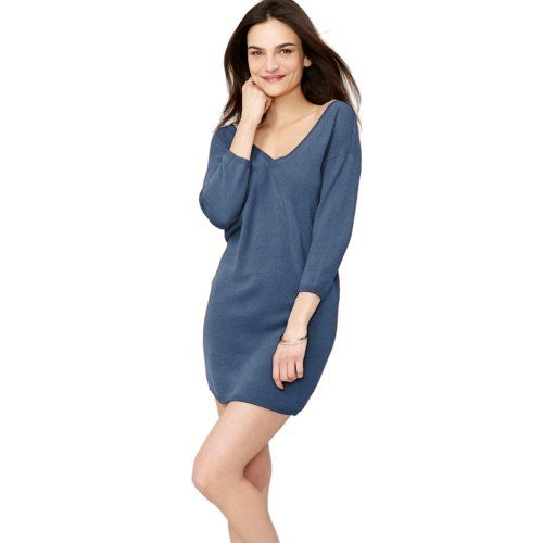 Parisbonbon Women's 100% Cashmere V-neck Sweater Dresses Color ...