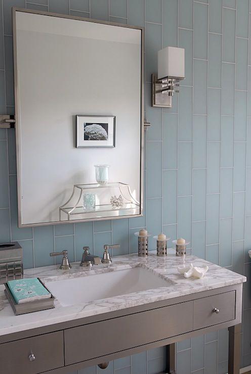 Mabley Handler Bathrooms Blue Glass Tiles