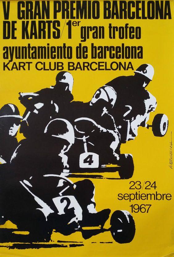 1967 Gokart Race Club Barcelona Original Vintage Poster