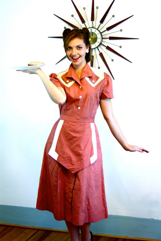 1940s Waitress Uniform/ Vintage 40s Dress & Apron Set/ Diner Outfit/ Puff Sleeve Shoulder/ Shane Deluxe Uniforms/ Sanforized/ Pink and White