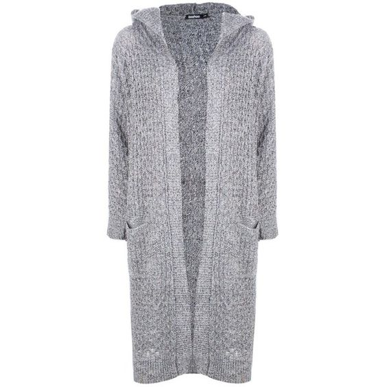 Boohoo Jennifer Hooded Cable Midi Cardigan | Boohoo (£28) ❤ liked ...