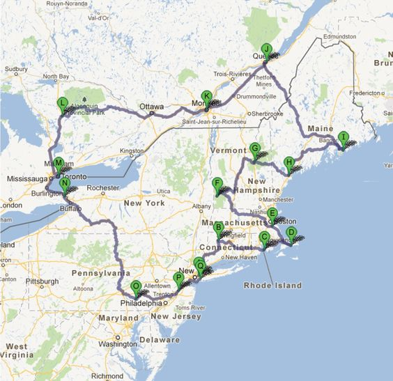 The most beautiful roadtrip Northeast USA Canada – Map Usa North East