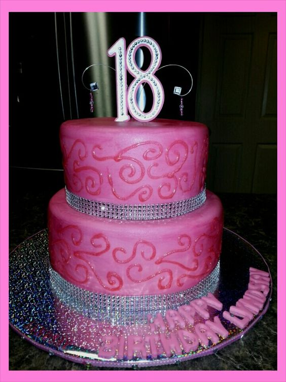 Sparkly 18th Birthday Cake Cakes Pinterest Pink