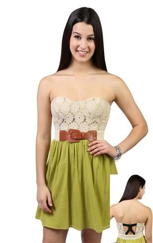 Deb Shops crochet #floral #lace gauze strapless sweetheart neck gauze skirt day dress