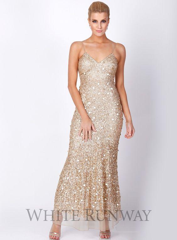 Gardenia Sequin Dress. A stunning full length gown by Mr K. A gold ...
