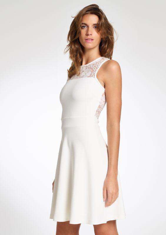 Mouwloze jurk met kanten schouders - OFFWHITE - 790970