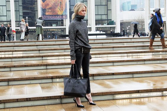 completely awesome, celine bag, stilettos, skinny jeans and large knitwear