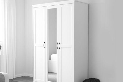 Armadio Bianco Con Specchio.Guardaroba Con Ante A Specchio Songesand Bianco Ikea Nel