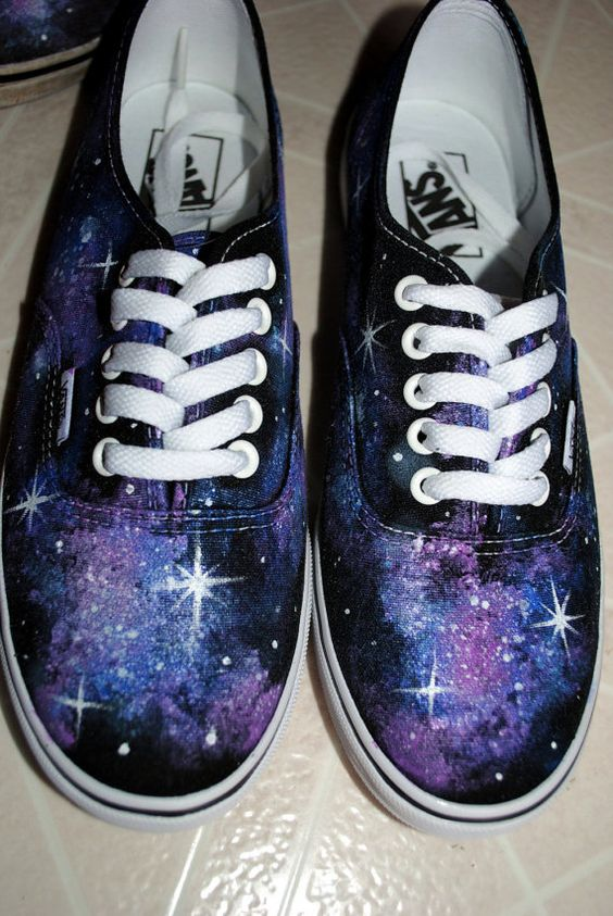 Galaxy Shoes Painted Vans MADE TO ORDER by KristenMakesArt