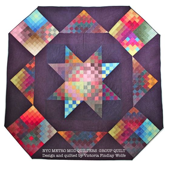 NYC Metro MOD Quilters: Cherrywood quilt    Designed and quilted by Victoria Findlay Wolfe.    I made a block for this :)