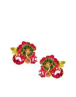 Les Nereides Enamel Flower & Diamante Stud Earrings