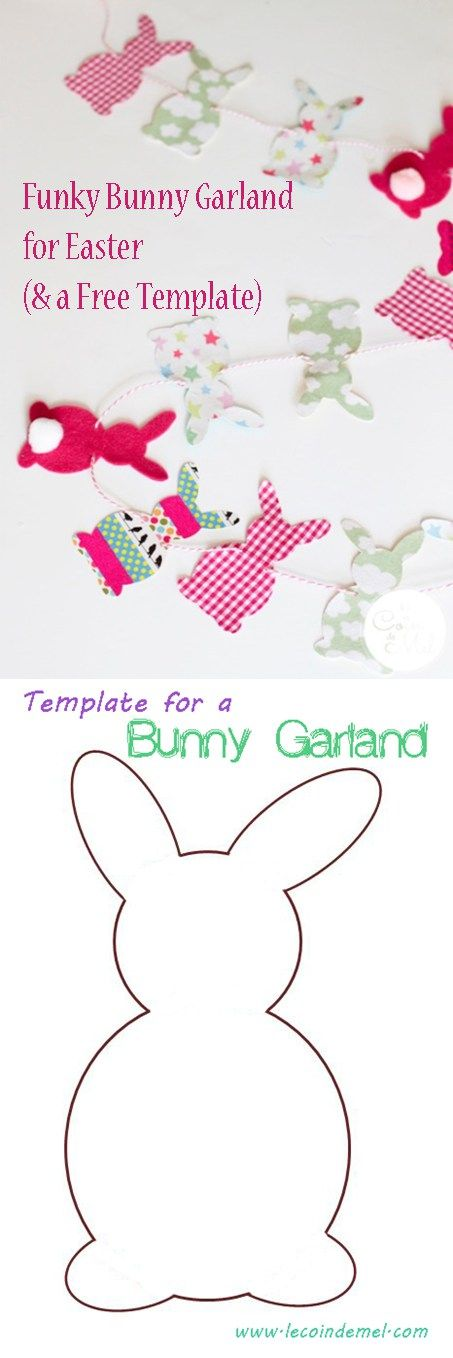 Funky Bunny Garland for Easter & Template: