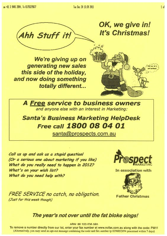 A great B2B Christmas flyer example from Prospect Marketing - example flyer