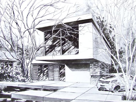 Ideas And More Modern Houses Behance House Sketches Modern Galleries