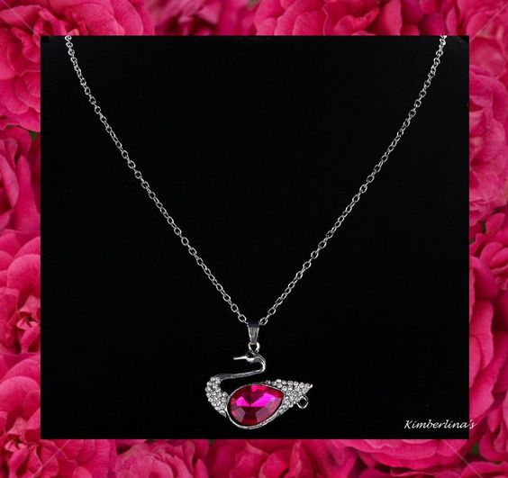 NEW - DARK PINK/ROSE RED CRYSTAL RHINESTONE SWAN SILVER PENDANT NECKLACE #Pendant