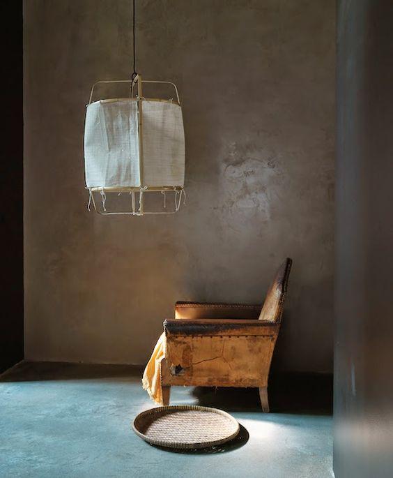 Lámpara Bambú y algodón.
