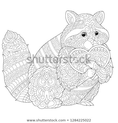 Coloring Page Lovely Raccoon With Heart For Valentines Day Card Anti Stress Colouring Picture With Chi Animal Coloring Pages Animal Valentine Stress Coloring